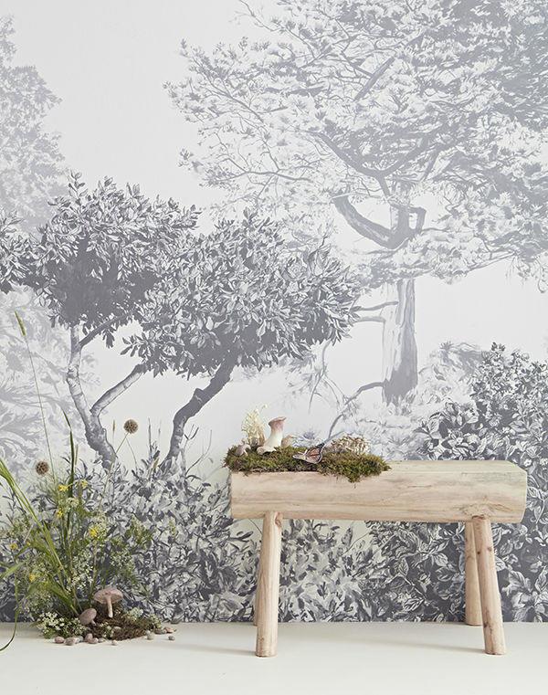 Mural de Árboles Hua en Gris