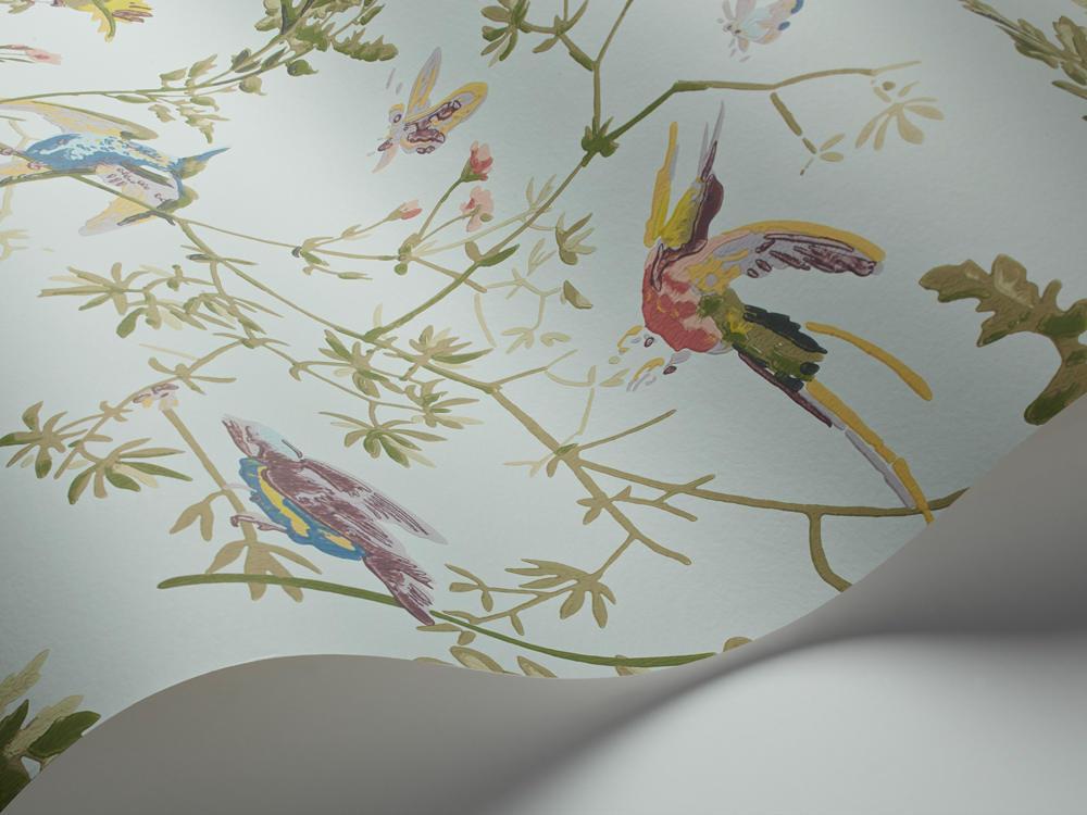 Papel Pintado Hummingbirds Azul Claro