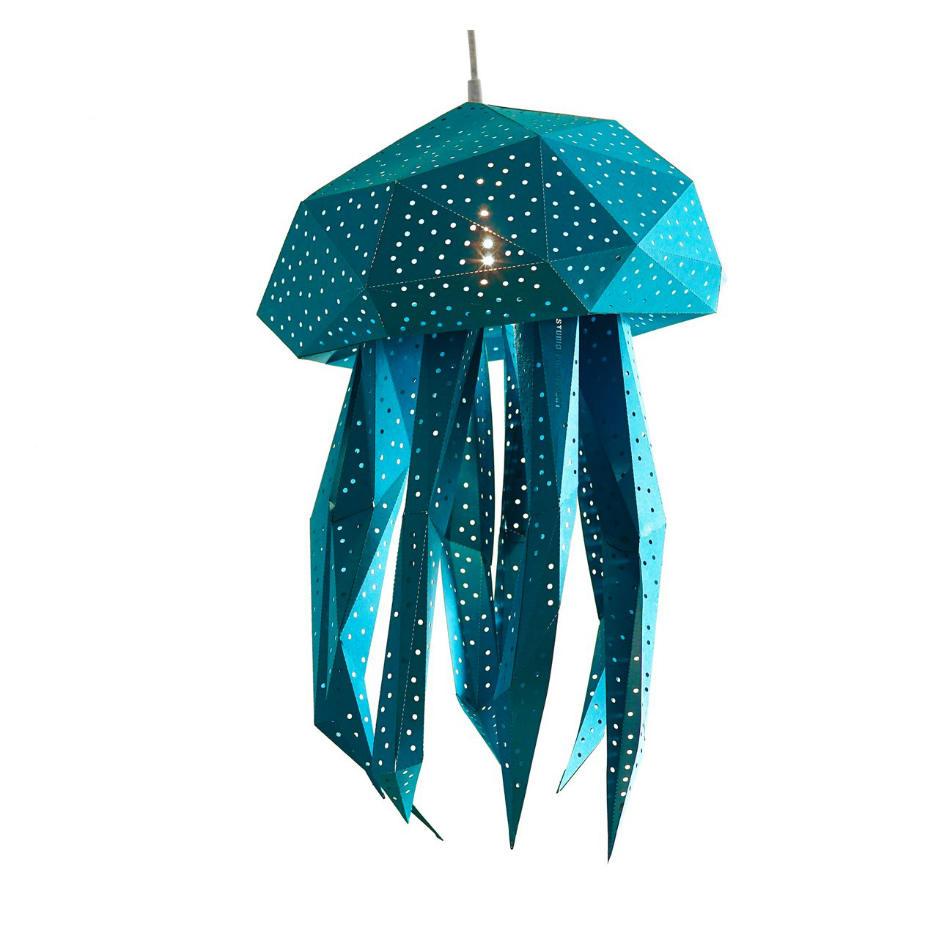 Lámpara Infantil de Papel Medusa Azul