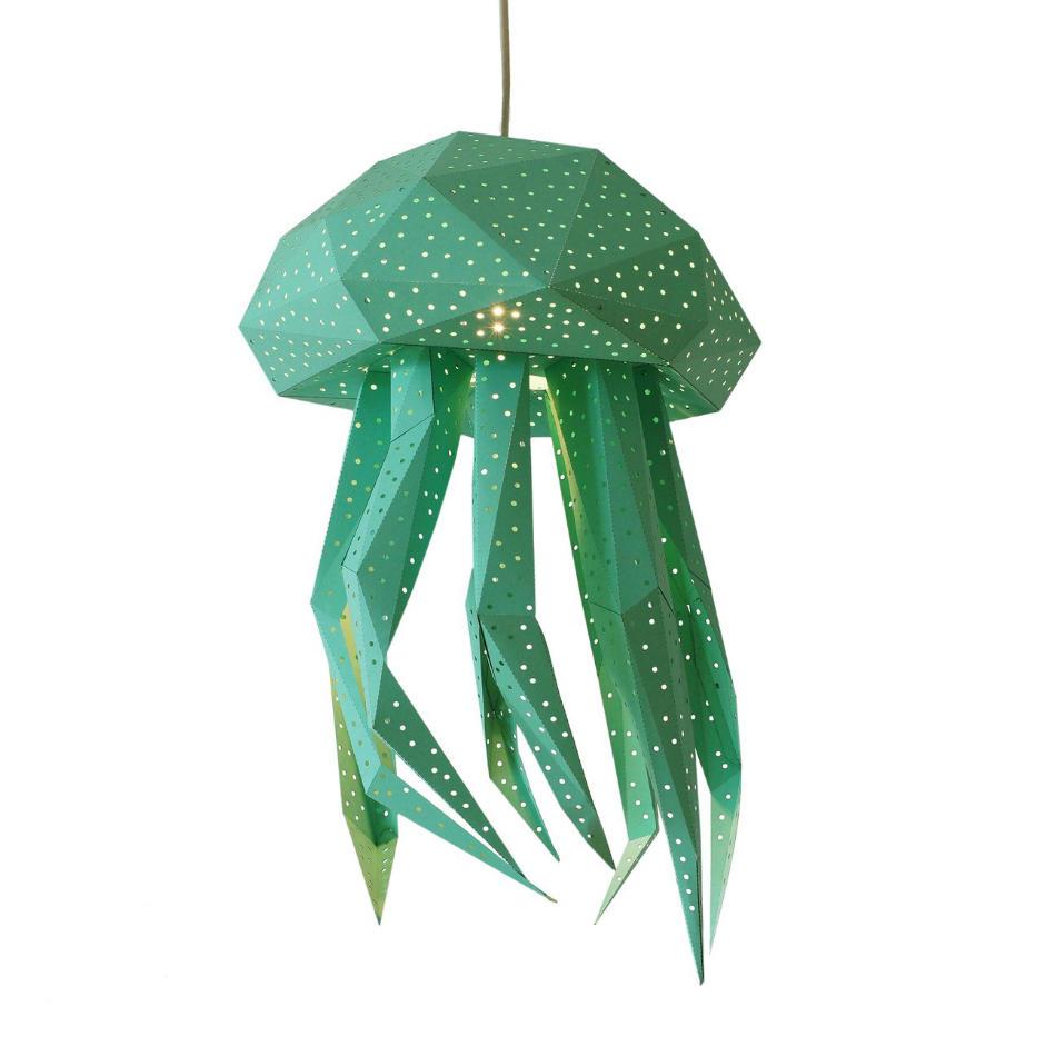 Lámpara Infantil de Papel Medusa Verde Menta