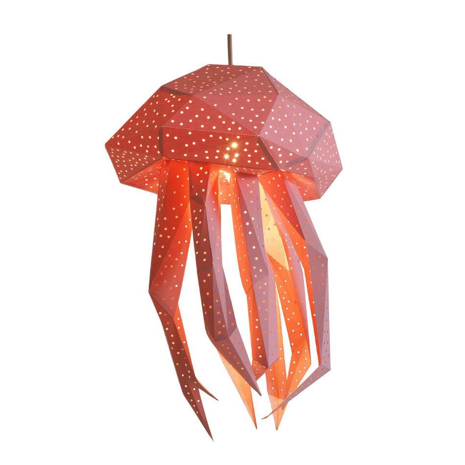 Lámpara Infantil de Papel Medusa Rosa