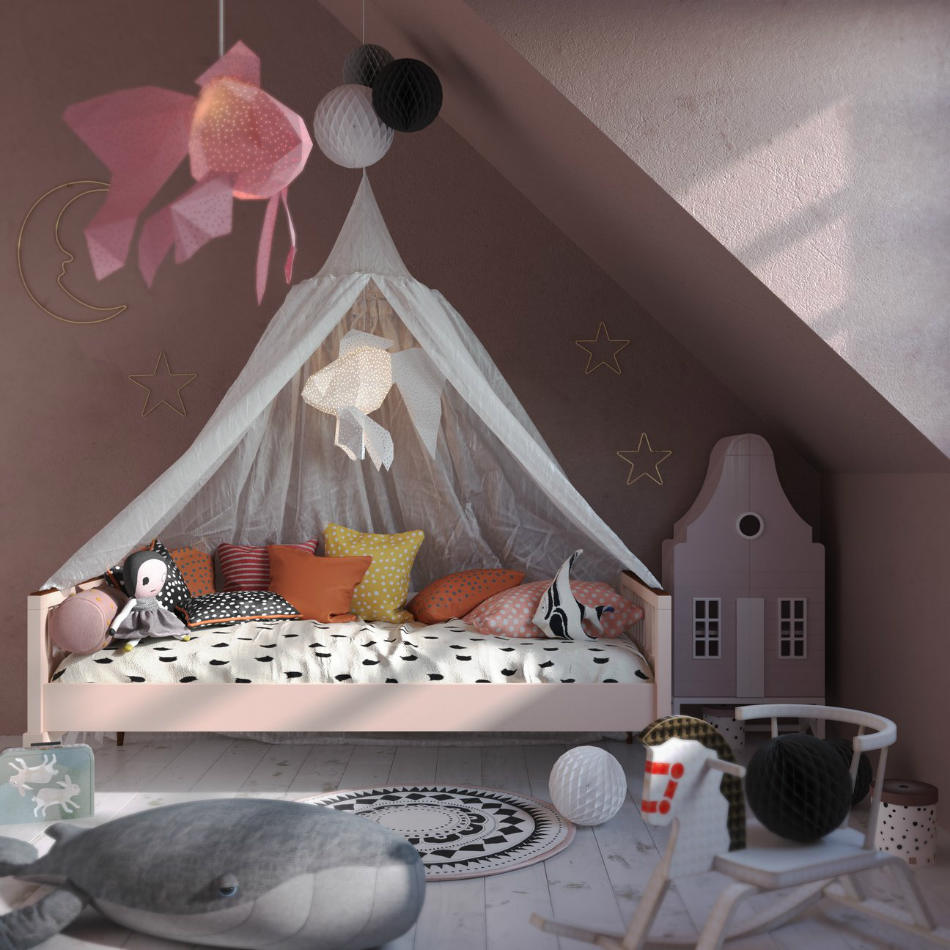 Lámparas Infantiles de Papel Pez Rosa y Blanco